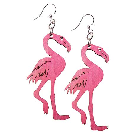 Wood Flamingo Earrings