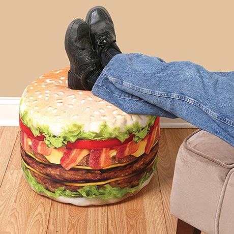 Cheeseburger Photo Real Printed Round Ottoman Pouf