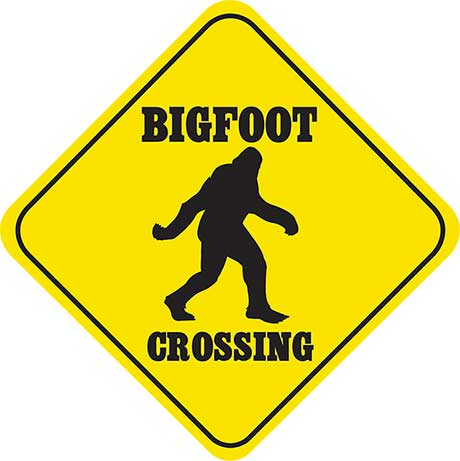 Crossing Bigfoot Sign