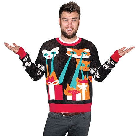 Laser Cat-Zilla Ugly Sweater