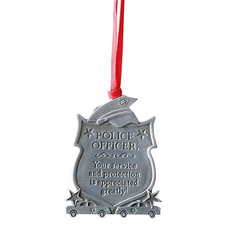 Pewter Police Occupational Ornament