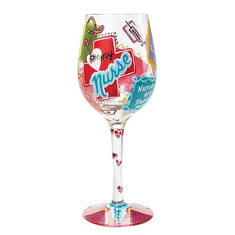 Hand Painted Appreciation Wine Glasses- Nurse