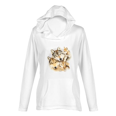 Mommy And Babies Wolf Ladies Hoodie