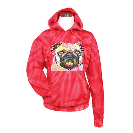 Tie Dye Pug Hooded Sweatshirt