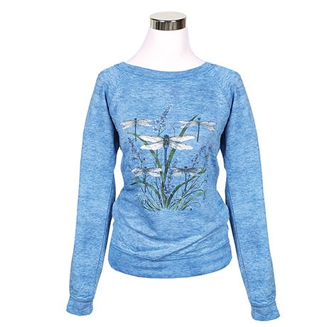Ladies Dragonfly Garden Scene Sweatshirt