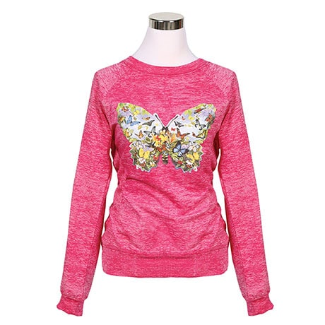 Ladies Butterfly Garden Scene Sweatshirt