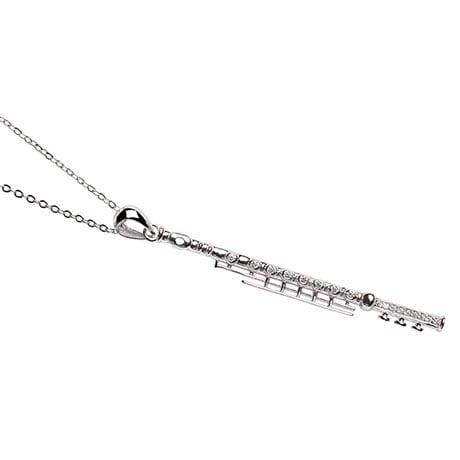 Rhinestone Encrusted Sterling Musical Flute Pendant