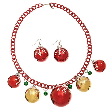 Oversized Ornament Necklace & Earrings Set