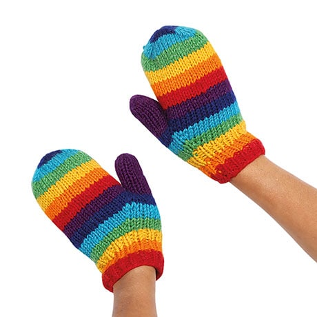 Color Spectrum Knit Wool Mittens