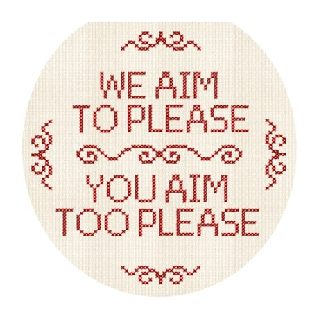 We Aim To Please So Please Aim Too Cross Stitch Toilet Tattoo
