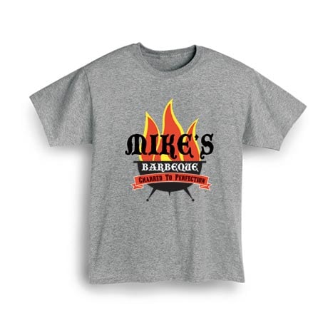 "Personalized ""Your Name"" Barbeque Grillin' Flames Shirt"