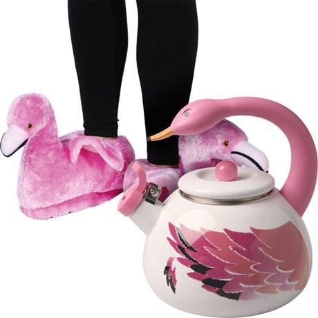 Spot Of Tea Flamingo Gift Set With Flamingo Shaped Enameled Luzern Kettle Tea Pot And Flamingo Slippers