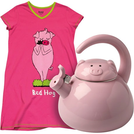 Spot Of Tea Bed Hog Gift Set With Pig Shaped Enameled Luzern Kettle Tea Pot And Bed Hog Ladies Cotton Sleepshirt