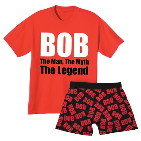 Bob Sleepwear Gift Set With 1 Pair Of Boxers & Bob The Man The Myth The Legend T-Shirt