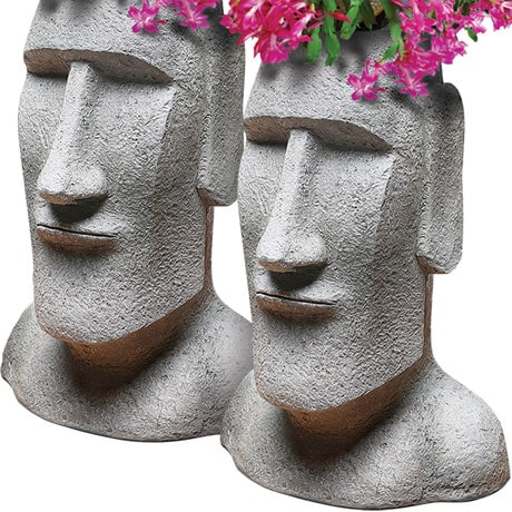 Easter Island Head Planter Set Of 2