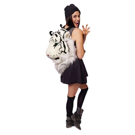 Animal Head Backpacks- White Tiger