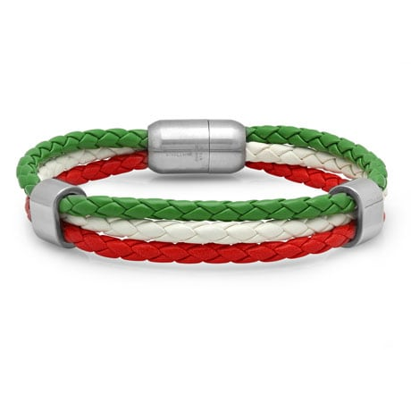 Leather Heritage Flag Bracelets- Italy