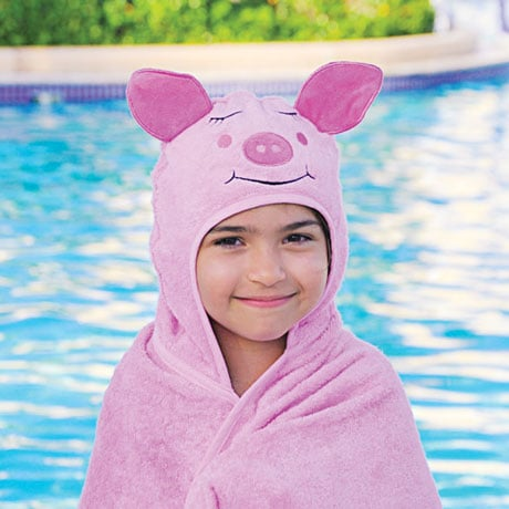 Hooded Children Towels- Piggy