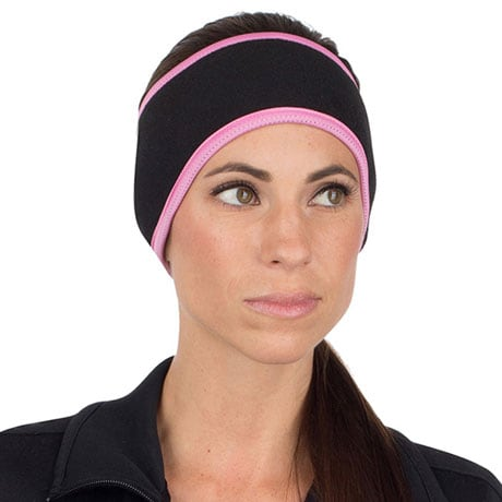 Fleece Ponytail Headbands - Black with Pink