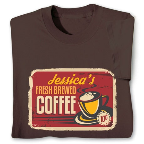 "Personalized ""Your Name"" Fresh Brewed Coffee Retro T-Shirt"