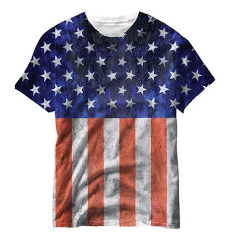 Distressed Sublimated American Flag Tee