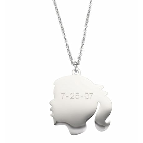 Personalized Silhouette Pendant - Girl, Engraved