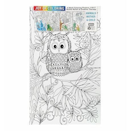 Joy Of Coloring Poster - Mother & Child Animals Set Of 4