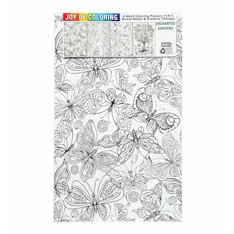 Joy Of Coloring Poster - Enchanted Gardens Set Of 4