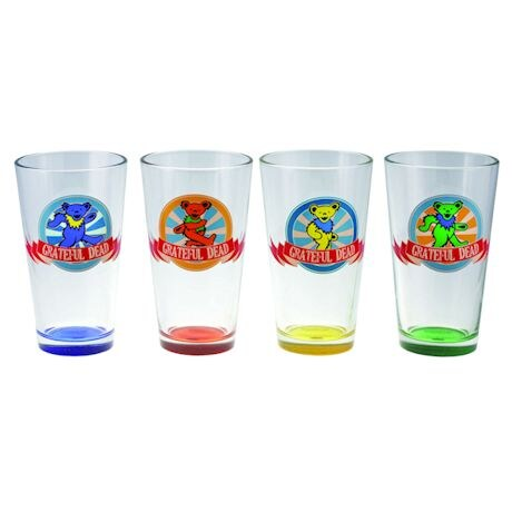 Grateful Dead Dancing Bears Glass Pints Set of 4