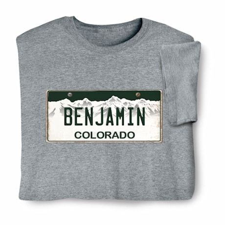 Personalized State License Plate Shirts - Colorado