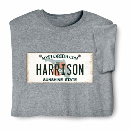 Personalized State License Plate Shirts - Florida