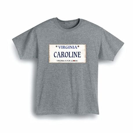 Personalized State License Plate Shirts - Virginia