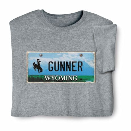 Personalized State License Plate Shirts - Wyoming