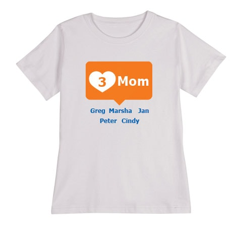 Personalized Orange Mom's Heart Mom T-shirt