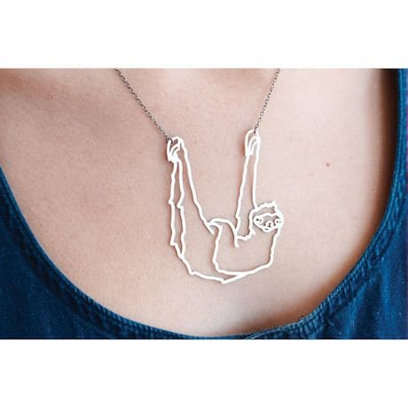 Outline Necklaces- Sloth