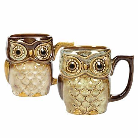 Glazed Stoneware Owl Mugs