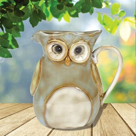 Glazed Stoneware Owl Natural Pitcher