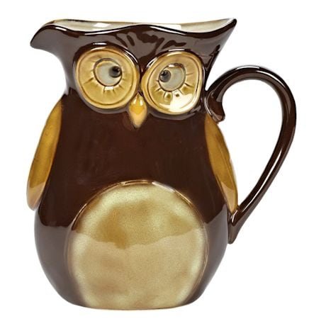 Glazed Stoneware Owl Brown Pitcher