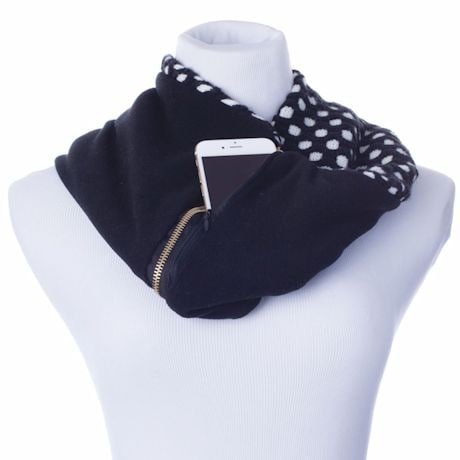 Infinity Scarf With Hidden Pocket - Polka Dot, Reverses To Solid Back