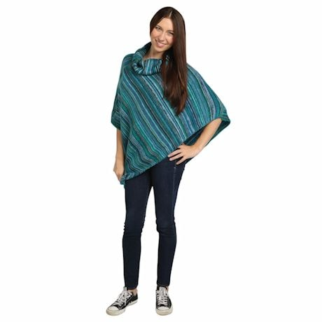 Stripe Poncho - Turquoise