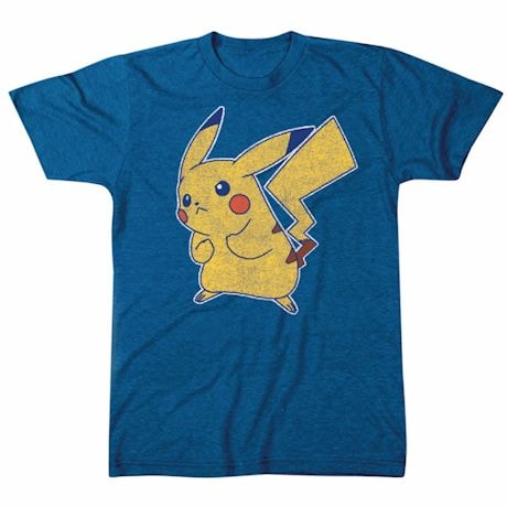 Pokemon Pikachu Battle Pose Blue T-Shirt