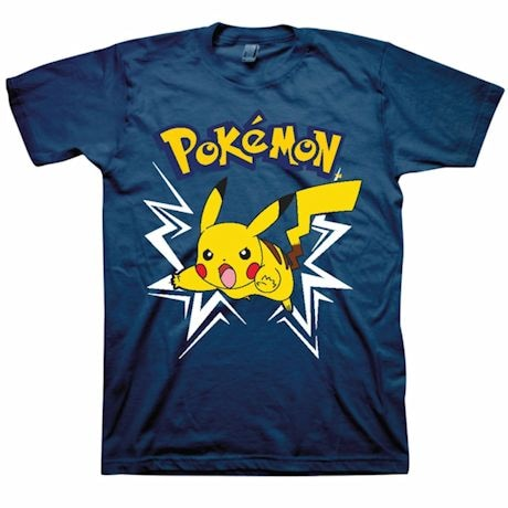 Pokemon Pikachu Thunder Bolt Attack Blue T-Shirt