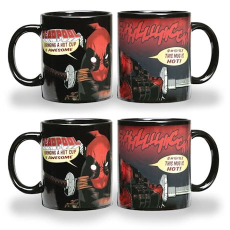 Deadpool Melted Flesh Heat Changing Thermochromatic Mug Set of 4