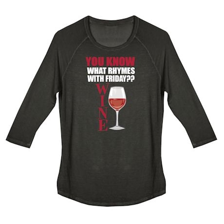 Wine Humor Ladies Tees - Rhymes With Friday