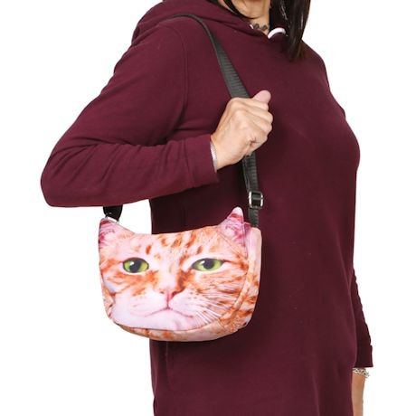 Sublimated Cat Face Hobo Bag - Orange Taddy