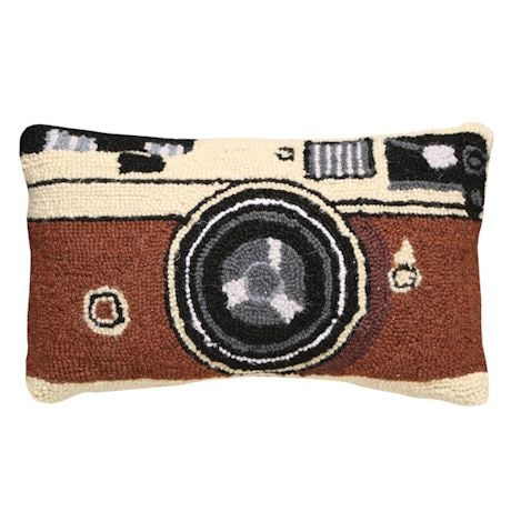 Retro Hooked Wool Pillows - Camera