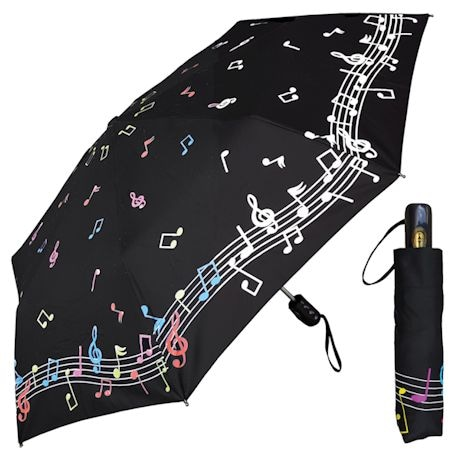 Musical Notes Color Changing Travel Umbrella