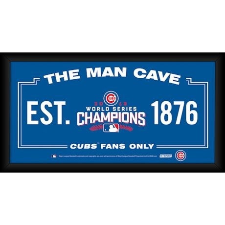 Chicago Cubs World Series Man Cave Framed Sign