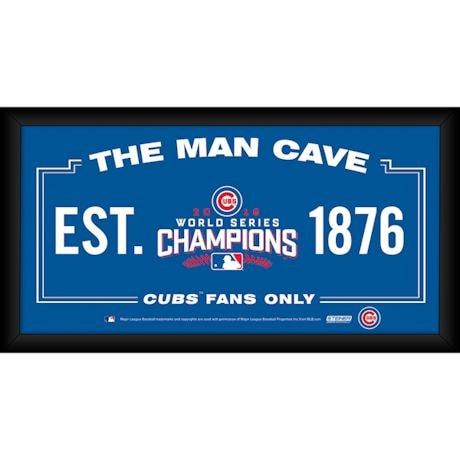 Chicago Cubs World Series Man Cave Framed Sign
