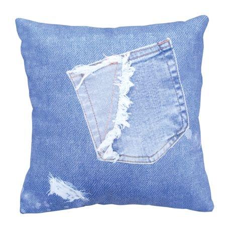 Faux Denim Pillow